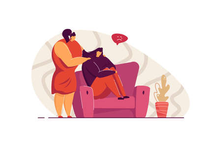 Friend giving support and comfort to depressed crying person, touching shoulders, helping to go through stress and anxiety. Vector illustration for empathy, friendship, compassion concept