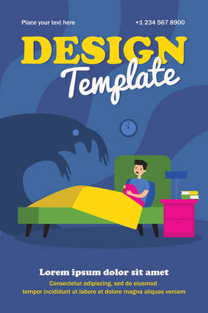 Terrified kid scared of monster shadow. Boy sitting in his bed at night flat vector illustration. Childhood, nightmare, problem concept for banner, website design or landing web page
