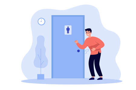 Unhappy man suffering from diarrhea, knocking public bathroom door. Vector illustration for stomach ache, toilet need, belly disease concept