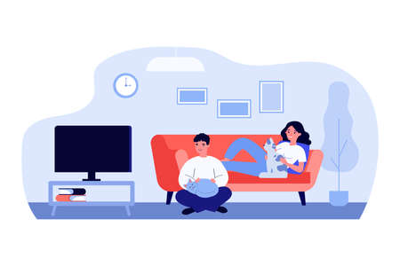 Man and woman watching TV in living room with pets. Couple, cat lovers, home. Flat vector illustration. Leisure, domestic animals keeping concept for banner, website design or landing web page