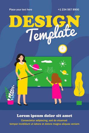 Schoolgirl drawing on chalk board in class. Teacher with pointer asking pupil at blackboard flat vector illustration. Lesson, school class concept for banner, website design or landing web page