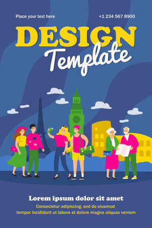 People traveling, walking at famous city landmarks, taking pictures or selfies, using paper map. Vector illustration for tourism, Europe guide, vacation concept