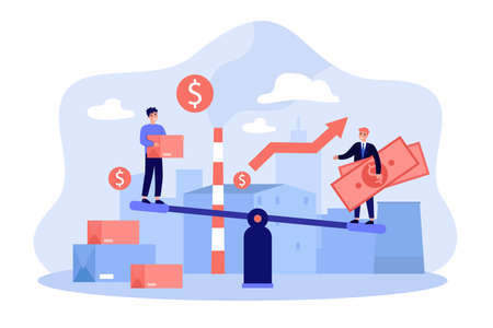 Business people investing money in local factory with growing economy. Investors balancing on seesaw with cash and credit card. Vector illustration for finance, microeconomics, cooperation concept