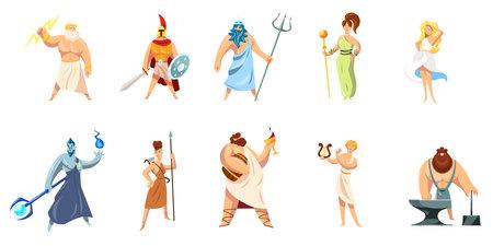 Greek mythology characters collection. Athena, Hephaestus, Ares, Poseidon, Zeus, Dionysus, Hephaestus, Aphrodite, Apollo. Vector illustration for ancient gods, Greece, religious culture concept