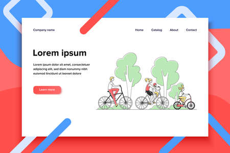 Family couple with two kids riding bikes outdoors. Parents and children cycling in summer park. Vector illustration for togetherness, active lifestyle, recreation concept