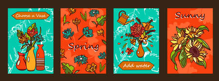 Flowers posters set. Bunches in vases, blossoms vector illustrations with text on orange and green background. Florist shop or spring concept for flyers and brochures design