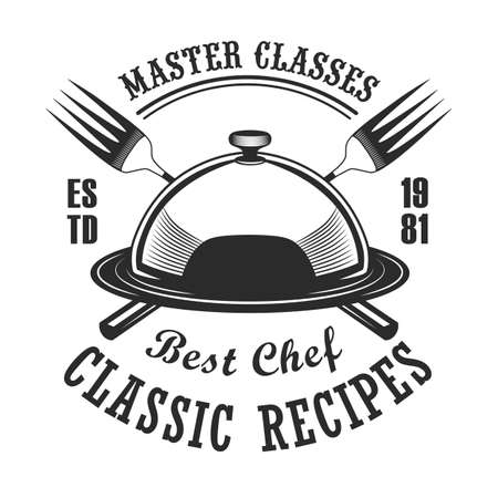 Classical cooking class label design. Monochrome element with restaurant dish and forks vector illustration with text. Workshop and course from chef concept for stamps and emblems templates Illustration