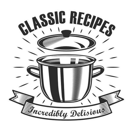 Classical cooking lesson label design. Monochrome element with open saucepan vector illustration with text on ribbon. Workshop and course from chef concept for stamps and emblems templates