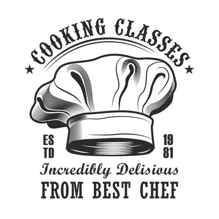 Cooking lesson label design. Monochrome element with chiefs cap vector illustration with text. Workshop and course from chef concept for stamps and emblems templates Illustration