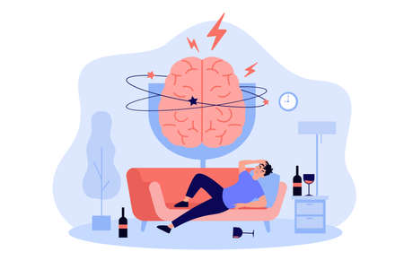 Person sleeping on couch among glasses and bottles of liquor, feeling headache and hangover. Painful brain of drunk man. Vector illustration for booze problems, alcohol addiction, drunkard concept