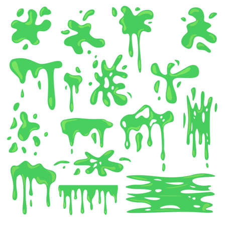 Toxic various green slime flat set for web design. Cartoon slimy goo splashes, blobs and mucus drops isolated vector illustration collection. Decorative shapes and liquid borders for design concept Ilustración de vector
