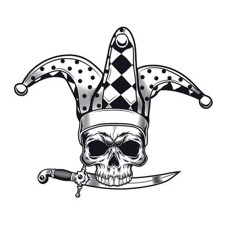 Creepy clown emblem design. Monochrome element with skull in jokers cap and dagger vector illustration. Horror and evil concept for symbols or tattoo templates