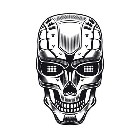 Robots head emblem design. Monochrome element with humanoid skull, cyborg, smart machine vector illustration. Robotics concept for symbols or tattoo templates