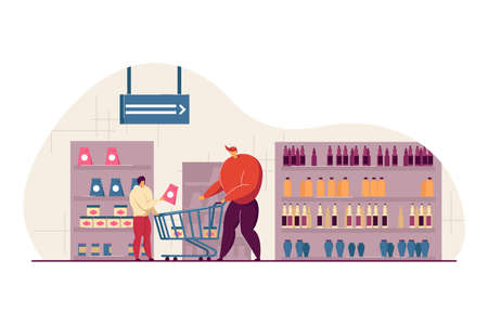 Happy dad and son buying food in supermarket flat vector illustration. Cartoon young father wheeling shop trolley in grocery store. Consumerism and shopping concept Vetores