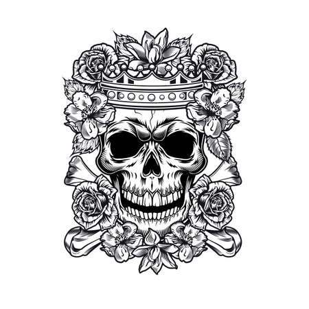 Vintage king or queen skull in roses vector illustration. Monochrome regal skull in flowers wearing crown. Tattoo design and monarchy concept can be used for retro template, banner or poster