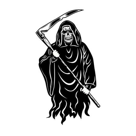 Death holding scythe emblem design. Monochrome element with skeleton wearing black hooded gown vector illustration. Horror and myth concept for symbols and labels templates
