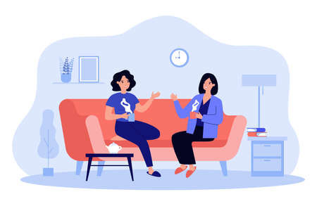 Two female friends drinking tea at home flat vector illustration. Cartoon smiling characters sitting on sofa in living room with coffee and talking. Conversation and friendship concept