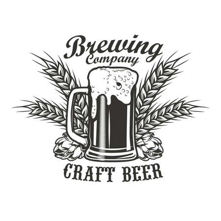 Brewing company emblem design. Monochrome element with glass of beer, hops and wheat ears vector illustration with text. Alcohol and bar concept for symbols and labels templates Vector Illustration
