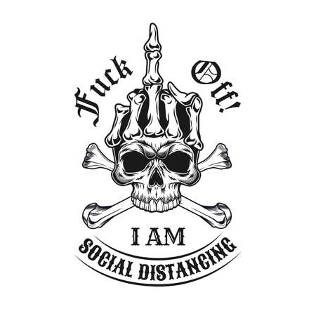 Black emblem with middle finger from skull. Monochrome design element with human skull showing off hand gesture and text. Nonconformist concept for tattoo, stamp, print template