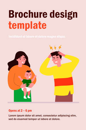 Young father tired of migraine because of crying baby. Mom holding child and dad touching head flat vector illustration. Depression and headache concept for banner, website design or landing web page Ilustración de vector