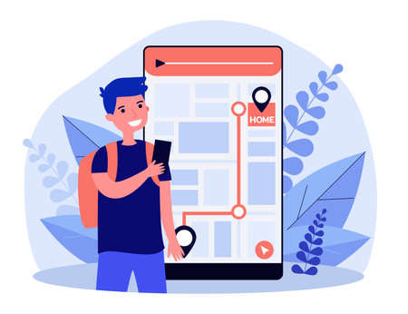Boy with cell walking home. Kid consulting map on smartphone, following itinerary. Flat vector illustration. Navigation, city guide, safety concept for banner, website design or landing web page Vectores