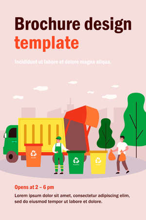 Trash collection transport. Man throwing trash into bins with recycling sign. Vector illustration for refuse industry, garbage truck, city cleaning service, waste sorting concept Vektorgrafik