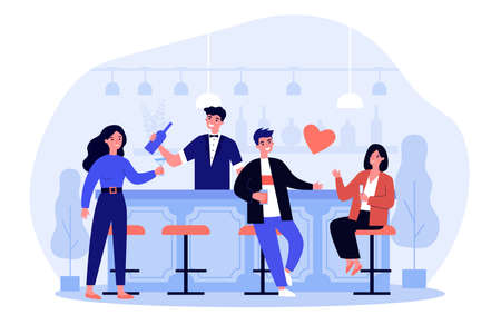Happy people drinking alcohol in bar. Restaurant customers with flutes and glasses at counter. Flat vector illustration. Party, celebration concept for banner, website design or landing web page