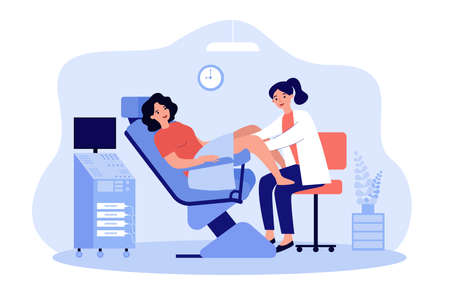 Doctor examining patient in gynecological chair. Woman visiting doctor for cervix checkup screening. Flat vector illustration for gynecology, obstetrics, medical examination concept