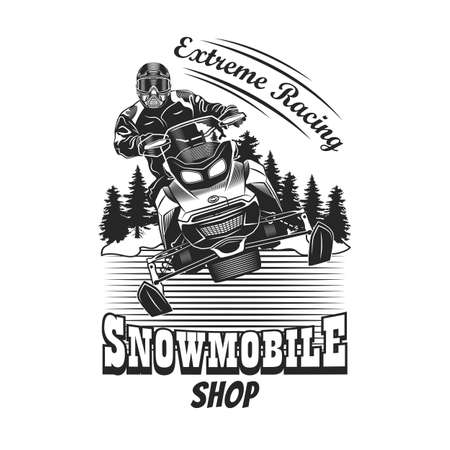 Trendy badge with man riding on snowmobile vector illustration. Monochrome label person racing in snowy forest. Extreme and winter sport concept can be used for retro template Vecteurs