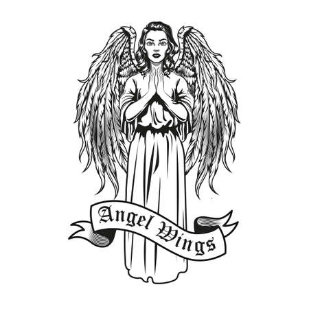 Creative badge with beautiful woman with wings vector illustration. Monochrome female angel character standing and praying. Trust and religion concept can be used for retro template
