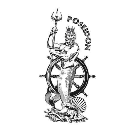 Poseidon tattoo design. Monochrome element with god of sea, waves, rudder vector illustration with text. Sailing or Greek mythology concept for symbols and labels templates