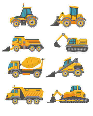 Yellow construction trucks flat vehicles set. Cartoon excavators, crane trucks, tractors and bulldozers isolated vector illustration collection. Building machines and industry concept
