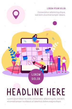 Happy tiny employees making organizer or schedule in big tablet flat vector illustration. Cartoon students organizing planner in app. Event appointment and communication concept