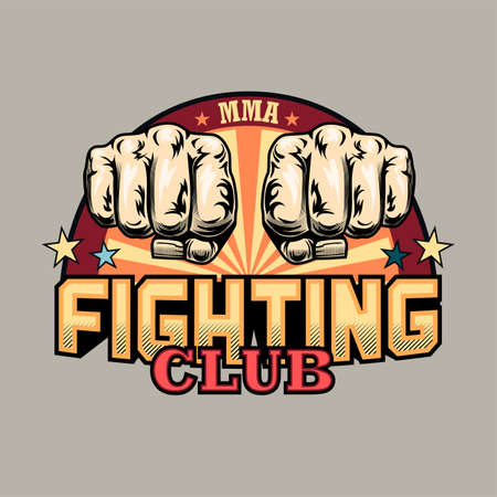 Colorful emblem with two human fists vector illustration. Retro label for fighting club. Sport activity, MMA or martial arts concept can be used for retro template, banner or poster