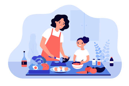 Happy mom and daughter cooking vegetables together isolated flat vector illustration. Cartoon mother and kid making dinner in aprons. Healthy food and motherhood concept