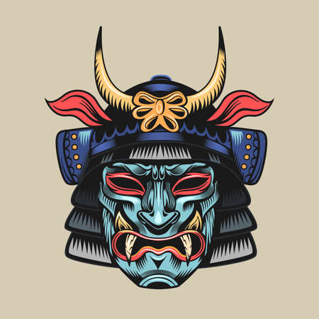 Samurai blue mask. Japanese warrior or fighter traditional armor element, angry face with helmet vector illustration. Military and history concept for symbols and emblems templates