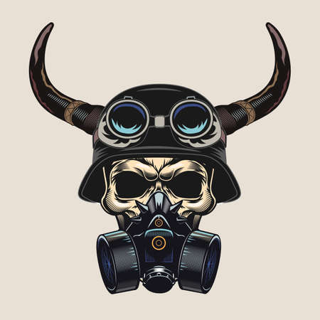Colorful sticker with skull in respirator and helmet. Retro design element with skull wearing helmet with horns vector illustration. Bikers club and freedom concept for tattoo, stamp, print template