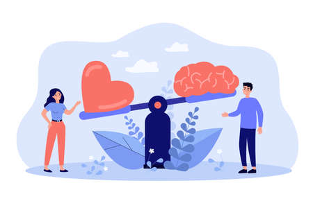 Two people comparing logic thinking and intuition on scales flat vector illustration. Cartoon man and woman looking at brain vs heart on seesaw. Emotional instincts and logic balance concept