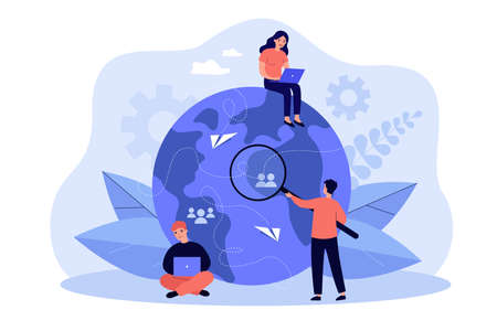Tiny people working from different countries isolated flat vector illustration. Cartoon idea of teamwork, investment and tech business process. Outsourcing and recruitment concept