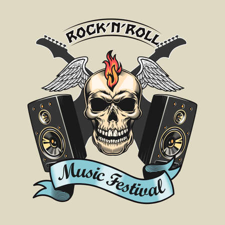 Creative badge with rocker skull and acoustic systems vector illustration. Colorful rock-n-roll element and guitars. Rock music festival and entertainment concept can be used for retro template