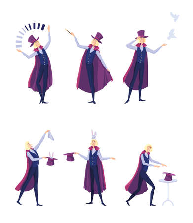 Circus illusionist set. Cartoon magician man in cape juggling or taking rabbit from top hat isolated on white. Vector illustration for show, festive fair, entertainment for kids concept