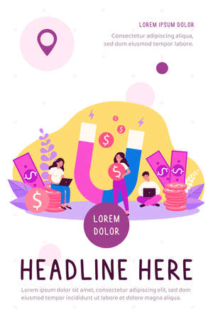 People attracting money with magnet flat vector illustration. Man and woman with laptop taking fast loan online. Lady holding magnet for attraction income. Wealth and investment concept