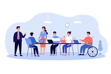 Disabled employee in wheelchair engaged in corporate meeting and conversation. Vector illustration for inclusion, business conference, teamwork concept Vektorgrafik