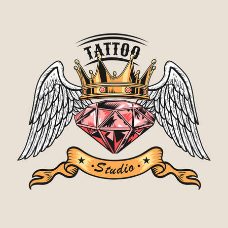 Colored vintage badge with pink diamond vector illustration. Colorful jewel, crown and angel wings. Tattoo studio and custom design concept can be used for retro template
