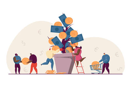 Investors growing revenue tree. Business people taking care about huge cash plant in pot. Investing money metaphor vector illustration. Finance, prosperity, financial growth concept Ilustracja