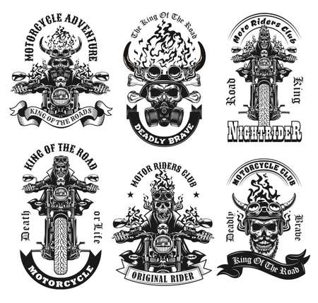 Monochrome labels with skeleton riders vector illustration set. Retro emblems with motorcyclists on motorbikes. Motorcycle adventure and extreme sport concept can be used for retro template