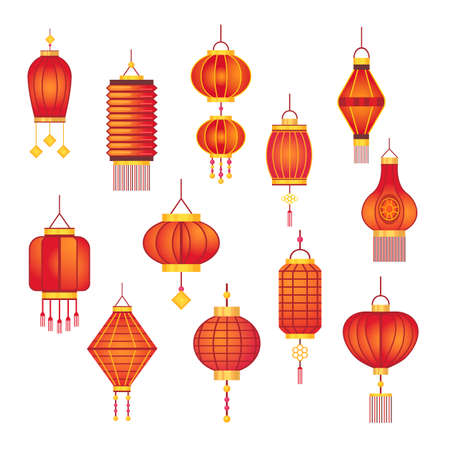 Red Chinese lamps set. Paper traditional Asian festive lanterns, street new year decoration isolated on white. Vector illustrations for oriental festival, celebration, Asia concept Ilustración de vector