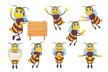 Happy bee set. Funny mascot character, bumblebee flying, carrying honey, waving hello at hive isolated on white. Vector illustrations for beekeeping, honey production, cartoon character concept