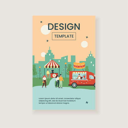 Happy people walking at night market isolated flat vector illustration. Cartoon characters eating fast food from street stall or booth. Summer activity and fair concept Vektorgrafik