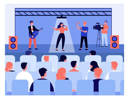 People listening to concert. Pretty woman singing to guitar and maracas accompaniment. Flat vector illustration. Entertainment concept for banner, website design or landing web page